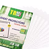 TRUETREND A4 Clear Standard Sheet Protectors   Bulk of 100 Sheets - 11 Reinforced Binder Ready Holes – Great for Document Storage, Reports and Presentations