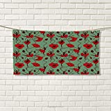 smallbeefly Poppy Sports Towel Floral Arrangement with Abstract Ballerina Dance Themed Botanical Print Absorbent Towel Green Chesnut Brown Red Size: W 12'' x L 35.17''