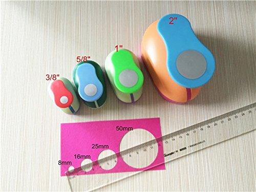 Fascola 4PCS (2'',1'',5/8'',3/8'') Circle craft punch set cortador de papel de scrapbook school paper foam Round hole punches