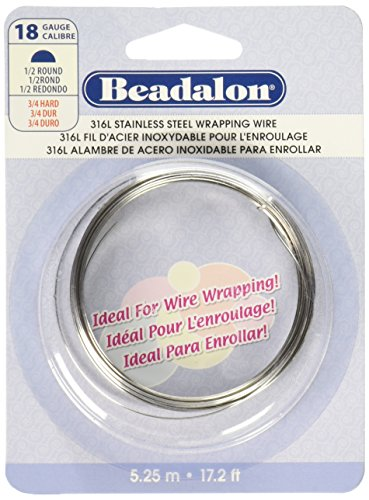 118 Wire Gauge - Beadalon 180S-118 18-Gauge Stainless Steel Half Round Bright Wire for Jewelry Making, 5.25m