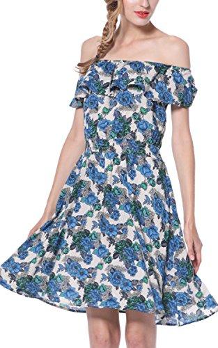 Floral line Layer Beach A Bohemia Print Ruffle ARANEE Deak Women's Off Sexy Shoulder Dress Blue qxE1vxZCwn