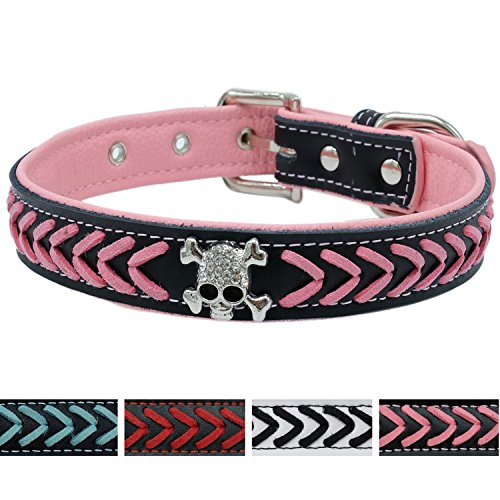 Studded Skull Leather (Vcalabashor™Braided Leather Dog Collars / Cool Skull Studded / Stylish Braided / Soft Padded Pet Collar / Fits Small to Medium Breeds / Pink & Black / M)