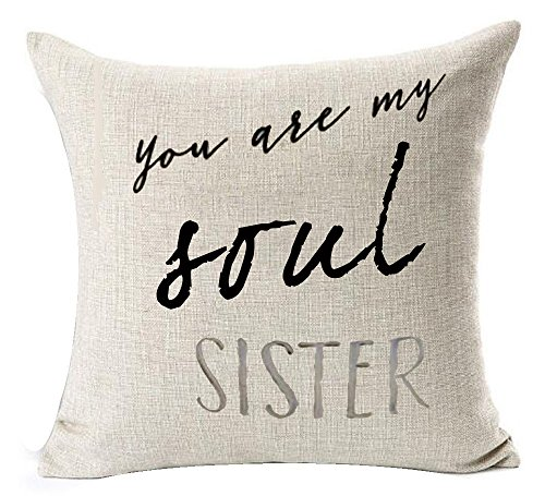 Pillow Throw Sister (Andreannie Best Sister You Are My Soul Sister Cotton Linen Throw Pillow Cover Cushion Case Home Decorative Square 18X18 inches (A))