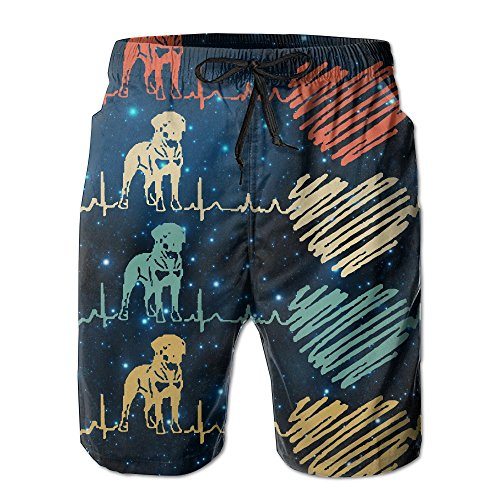Rottweiler Lover Dog Gift Rottweiler Heartbeat Mens Basic Watershorts L With Pocket by OIYP