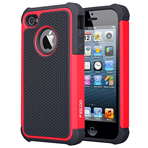 iPhone 4S Case,Pegoo [Football face] Shockproof Durable Hybrid Dual Layer Armor Defender Full Body Protective Hard Plastic with Soft Silicone Case Cover for Apple iPhone 4 4S (Black Red)