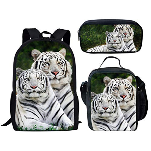 FX0144CGK 2Pcs Tiger Fx0144cgk Animal Set Primary White Backpack AqT4U