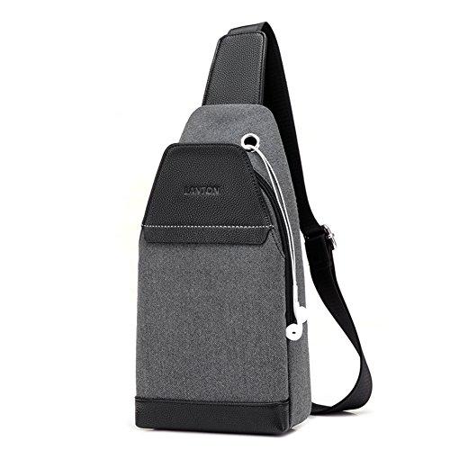 Bolso pecho,Lona de la vendimia Bodycross Mochila bandolera con puerto de carga usb Pequeña Mensajero Laptop Trabajo Para viajar-B