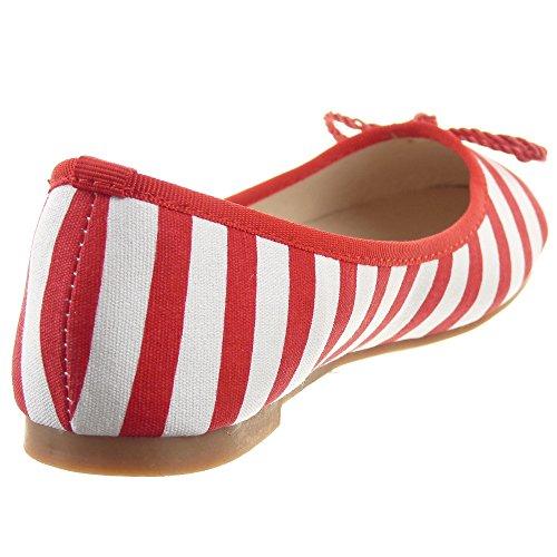 Sopily - Zapatillas de Moda Bailarinas Tobillo mujer Líneas nodo Talón Tacón ancho 1 CM - Rojo