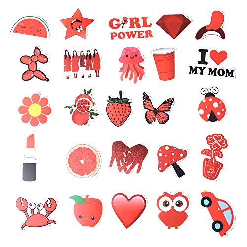 Cute Stickers for Water Bottles, 50 Pcs Sticker Waterproof Trendy VSCO Vinyl Aesthetic Laptop Skateboard Stickers for Teens, Girls, Adult, Kids, Red