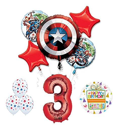 Mayflower Products The Ultimate Avengers Super Hero 3rd Birthday Party Supplies and Balloon Decorations ()