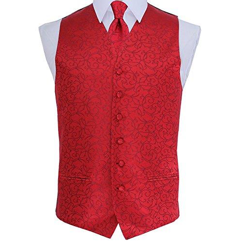 Waistcoat Swirl Neck Tie DQT Patterned Tuxedo Burgundy Wedding Men's qSH1UwFZ
