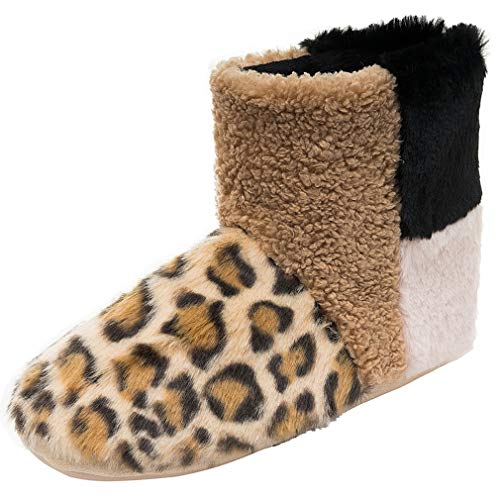 Women's Comfy Warm Faux Wool Bootie Slippers Soft Memory Foam Plush Lining Slip-on Rubber Sole House Shoes Leopard Size 7-8 M US ()