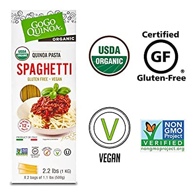 GoGo Quinoa Organic Spaghetti, Gluten Free, Vegan Superfood, High Iron, Fiber, Protein from Natural Ancient Grains 2.2 Pounds