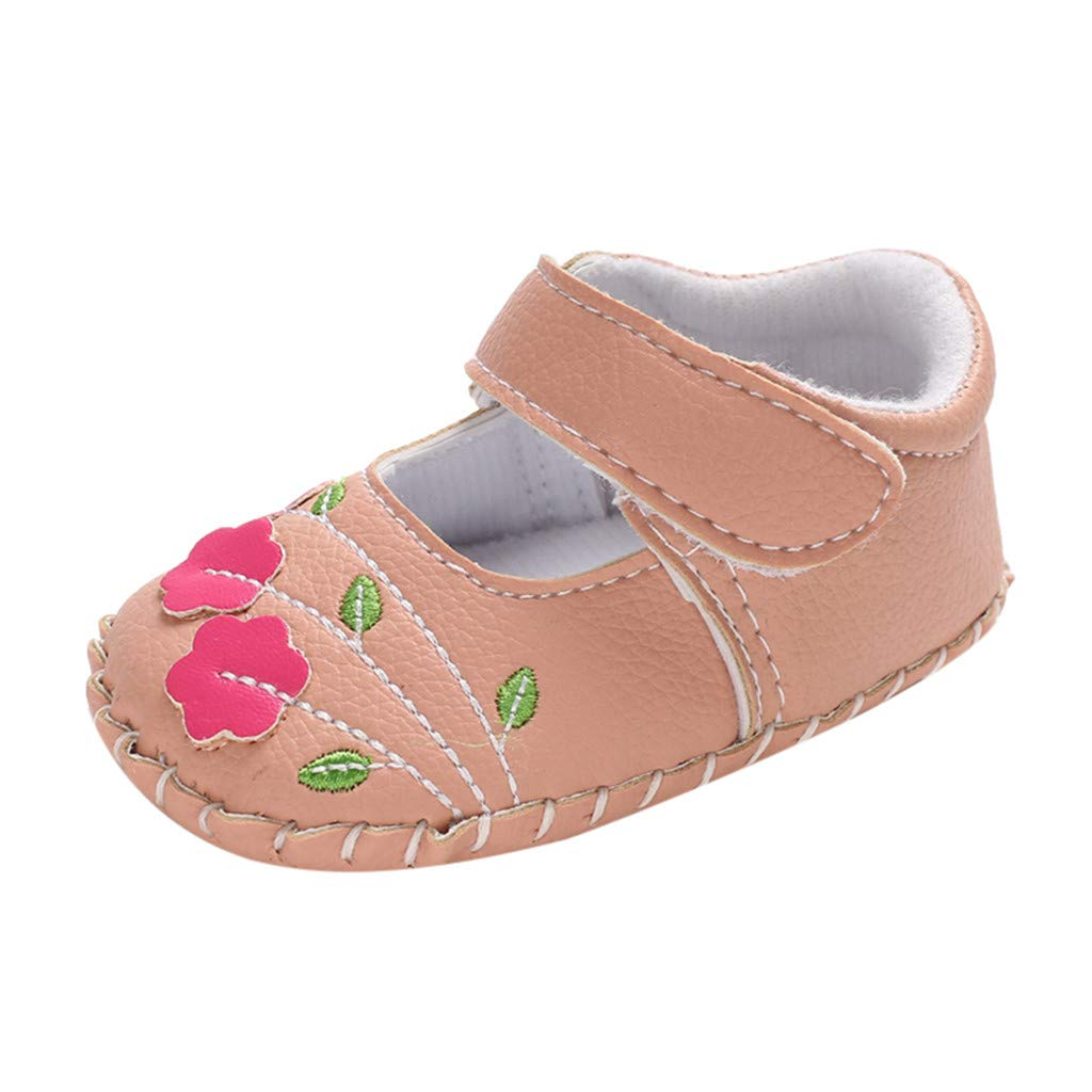 NUWFOR Infant Newborn Baby Girls Soft Sole Applique Embroidery Princess Shoes (Orange,0~6 Month)