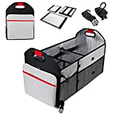 Car Trunk Organizer Collapsible Portable 3 Large Compartments with Strap,Heat Preservation Storage Container for Picnic, Bin Box for All Cars Heavy Duty with Handles