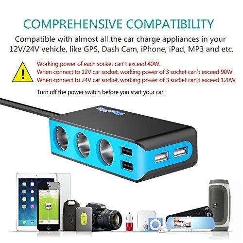 [Updated Version] 3-Socket Cigarette Lighter Splitter,120W 12V/24V Car Power DC Outlet Adapter with 6.8A 4 USB Charging Ports Car Charger