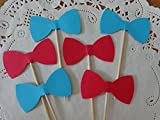 lil baby dr - Red and Aqua Blue Bow Tie Cupcake Toppers - Food Picks - Party Picks - Baby Shower Toppers - Bowtie Toppers (Set of 24)