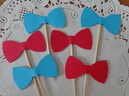 Red and Aqua Blue Bow Tie Cupcake Toppers - Food Picks - Party Picks - Baby Shower Toppers - Bowtie Toppers (Set of 24) ()