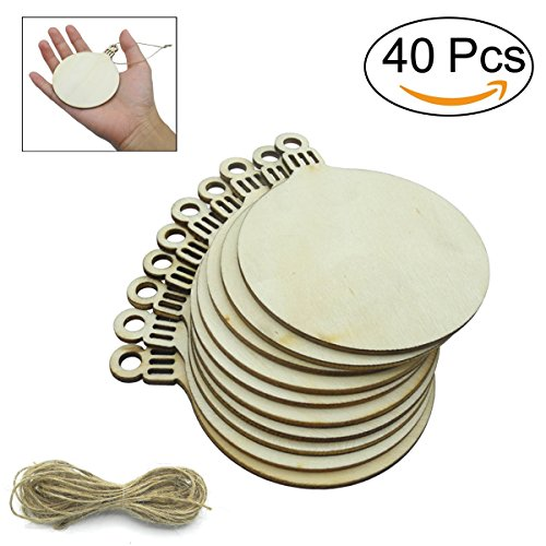 40 Pcs Unfinished Wood Ornaments Wood Slice DIY Christmas Ornaments Hanging Decoration 2.75''x3.6'' with Pre Cut Strings by Cualfec