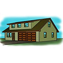 2 story Garage plans - 2 Car - Shop Space - Shed Roof Dormers - 42' x 28'