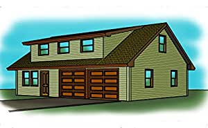 2 story garage plans 2 car shop space shed roof for Garage plans with shop space