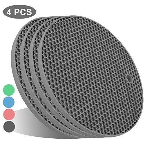 FDA Silicone Pot Holders, Kitchen Heat Resistant Trivets - Honeycomb Coasters & Nonslip Hot Pot Pads, Hot Mat for hot pans and pots, Place Mats, Spoon Rest, Oven Mitts for Cooking & Baking (4pcs Gray)