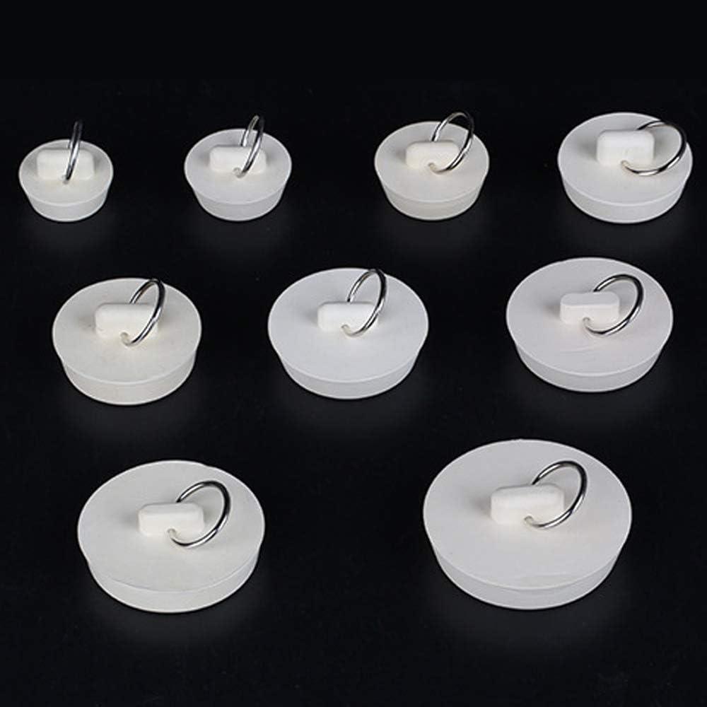 MHwan Tappo Vasca da Bagno con Anello Cucina e Bagno Bianco 10 pezzi Tappi per Lavelli Tappo in Gomma per Tappo 5 Tappo di Scarico di Diverse Dimensioni con Anello di Sospensione per Vasca
