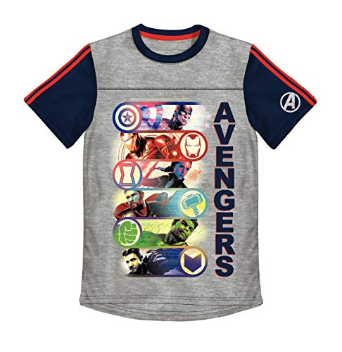 Avengers 6 Superheros Graphic Raglan Boys T-Shirt - Heather Grey/5/6