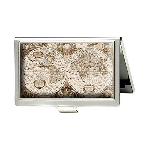 Antique World Map Custom Personalized Stainless Steel Business box Name Case Holder Identity Card Wallet (Silver) Antique Silver Card Case