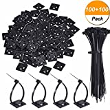 Hicarer 100 Pack Black Zip Tie Adhesive Mounts Self Adhesive Cable Tie Base Holders with Black Multi-Purpose Cable Tie (Length 150 mm, Width 2 cm)