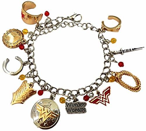 DC Comics Wonder Woman Silvertone/Goldtone Metal 10 Charm Bracelet (Wonder Women)