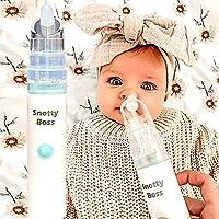 Snotty Boss - Nasal Aspirator – Premium Kit incl Saline Spray Bottle/Nozzles/Travel Bag. Battery powered, strong snot…