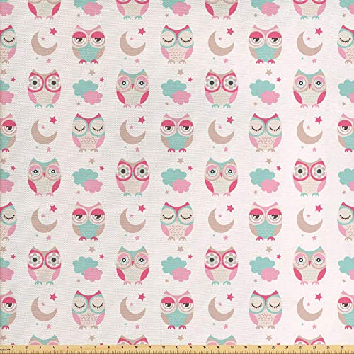 Ambesonne Owls Fabric by The Yard, Owls Stars Moon Patterns in Feminine Soft Colors Symmetric Design Artwork, Decorative Fabric for Upholstery and Home Accents, 1 Yard, Almond Green Pink Tan (Feminine Owl)