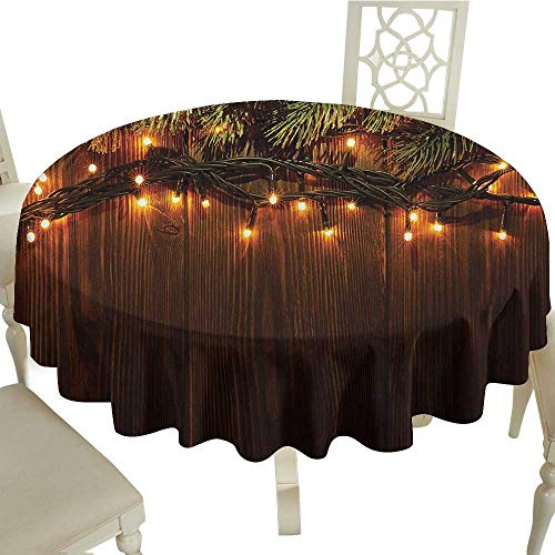 (longbuyer White Round Tablecloth Christmas,Xmas Branch with Lights Country Festivity Synergy Surprise Celebration Theme,Brown Green D70,for Baby Shower)