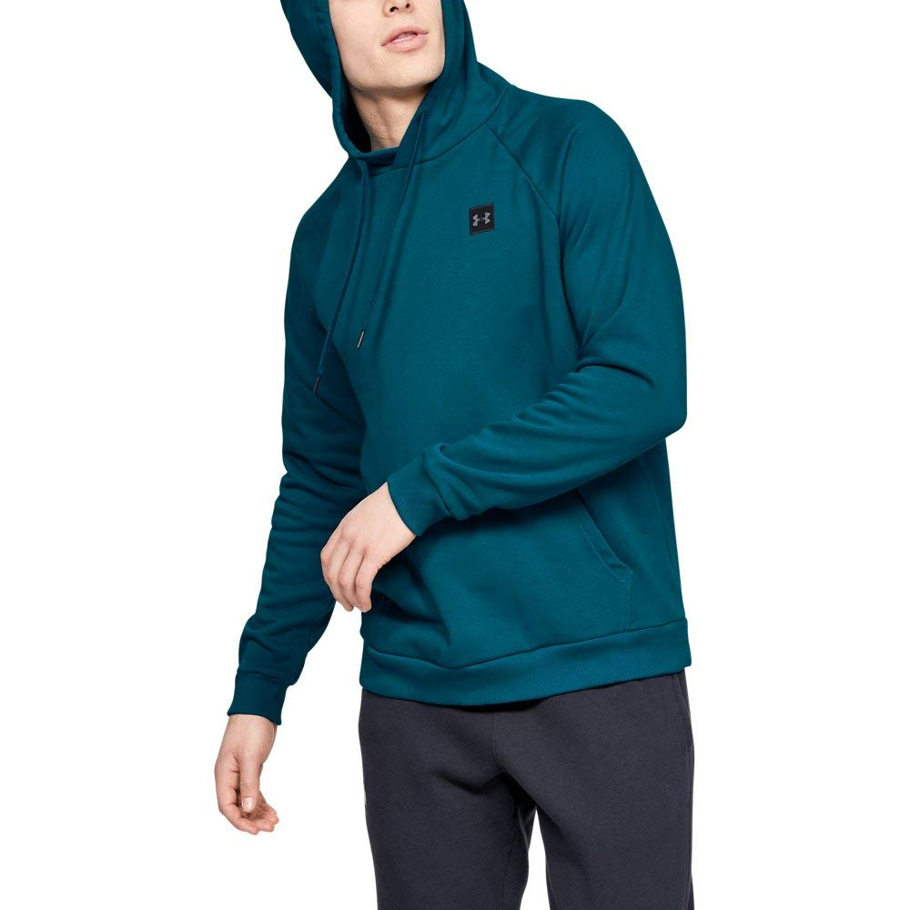 Under Armour Men's Rival Fleece Hoodie, Teal Vibe (417)/Black, Small