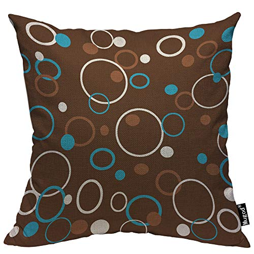 Mugod Circle Pattern Throw Pillow Case Dots Circles and Rings Colored Brown Blue White Decorative Cotton Linen Square Cushion Covers Standard Pillowcase Couch Sofa Bed Men/Women 18x18 Inch ()