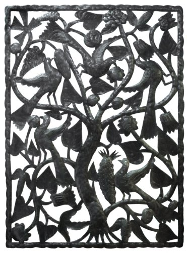 Le Primitif Galleries Haitian Recycled Steel Oil Drum Outdoor Decor, 47.5 by 35-Inch, Panel by Le Primitif Galleries