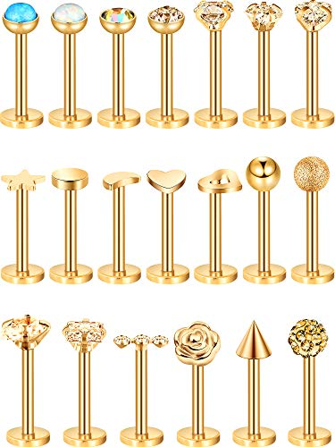 Blulu 20 Pieces 16G Stainless Steel Nose Studs Nose Lips Tragus Labret Cartilage Piercing Jewelry for Women Girls, 20 Styles (Gold 1)