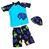Jojobaby Kids Boys Wear Surfing Suits Sun Protection Beach Swimsuit Swimwear (XXL(Age:10-11 Years), Blue)