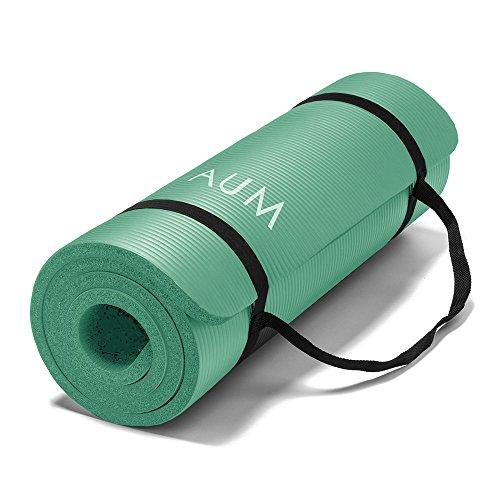 AUM High Density HD Foam Tech Yoga Exercise Mat – 72″ x 24″ x 1/2″ – Aquamarine