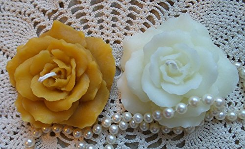 Beeswax Candle Hand Sculpted Pair Rose Floating Candle White or Natural Pure Beeswax