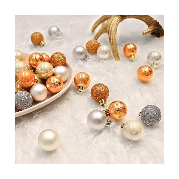 Valery Madelyn Palle di Natale 49 Pezzi 3 cm Addobbi Natalizi per Albero, Rame da Bosco e Oro Infrangibile Ornamenti Palla di Natale Decorazione per Albero di Natale Decor 4 spesavip