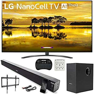"LG 86SM9070PUA 86"" 4K HDR LED NanoCell TV (2019) with AI ThinQ and Deco Gear 60W Soundbar with Subwoofer, 2.4GHz Wireless Keyboard, Surge Protector and Fixed TV Wall Mount Bundle"
