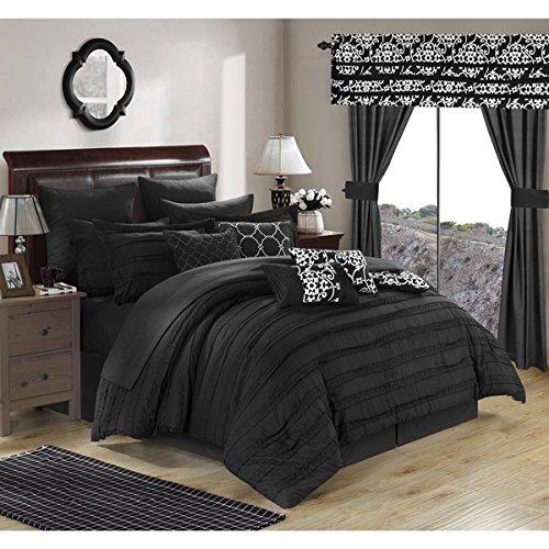 24 Piece Black White Damask Floral Theme Comforter King S...