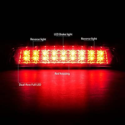 Red Housing Dual Row LED 3rd Third Tail Brake Light Reverse Lamp Replacement for Ram 1500 2500 3500 DS/DJ 09-10: Automotive