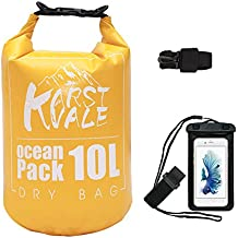Karst Vale Waterproof Dry Bag 10L By, Roll Top Dry Bag with Waterproof Cell Phone Case - Compression Sack Keeps Gear Dry for Kayaking, Boating, Canoeing, Fishing, Rafting, Swimming, Camping, Orange