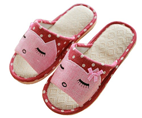 Child Red Cute Women's Men's Kids Parent iDuoDuo Carpet Slippers Indoor Breathable Slippers Cartoon Women Hemp zqSaO