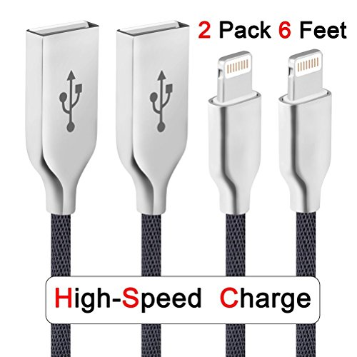 Iphone Charger Nelson 6ft 2pack Fast Charging Iphone Cable Tough Nylon Braided Charging Cable 8 pin USB to Lightning Cord for iphone 7/7plus/6/6plus/6s/6s plus/5/5c/5e/se,ipad and beats (black)