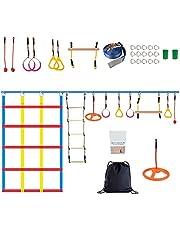 Ninja Warrior Training, Vogvigo Ninja Warrior hindernisbaan voor kinderen, 50FT Slackline Kit-Ninja Warrior Trainingsapparatuur voor volwassenen, Ninja ringen, klimtouw ladder