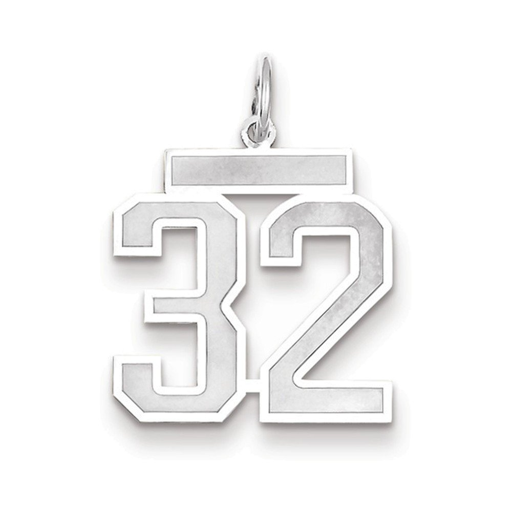 Jewelry Adviser Charms 14k White Gold Medium Satin Number 32 Charm